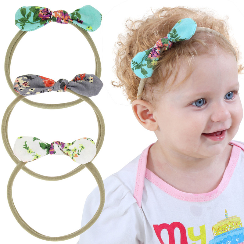 3pcs set Little Girls Printed Flowers Bowknot Headband Set Elastic Knotted bow Hair Bands for Kids