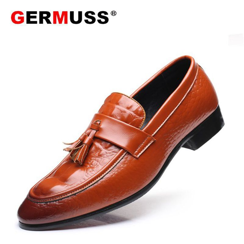 Slip-on Plus Size 38-48 Tassel Dress loafer mocassin shoes men Top quality handsome comfortable Germuss brand men wedding shoes