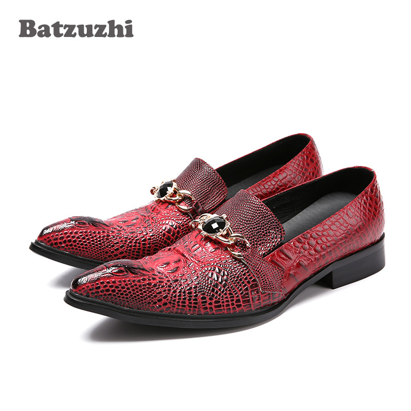 Batzuzhi Italian Style Fashion Mens Leather Shoes Wine Red Crocodile Skin Pattern Leather Dress Shoes Men Pointed Toe, EU38-46Batzuzhi Italian Style Fashion Mens Leather Shoes Wine Red Crocodile Skin Pattern Leather Dress Shoes Men Pointed Toe, EU38-46