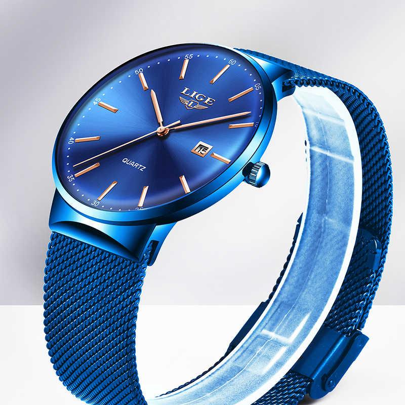 Reloj de moda de lujo de marca LIGE para hombre, reloj de cuarzo resistente al agua con fecha de malla delgada reloj