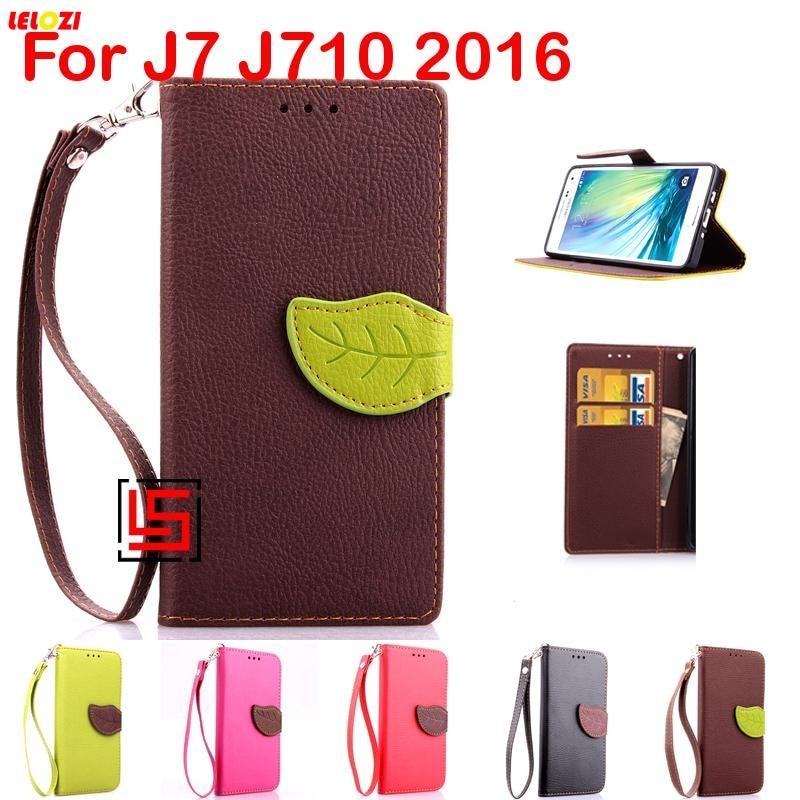 LELOZI Leaf Clasp PU Leather Leathe Flip Filp Wallet Stand Phone Case coque Cover Bag For Samsung Samsun Galaxy J7 J710 2016 J 7