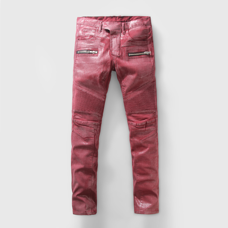 Balmain jeans Men's Ripped Locomotive Jeans Fashion Designer Slim Fit Washed Wine Red  Pleated Jeans Trousers Denim Pants Brand Pencil Pants-in Jeans from Men's  Clothing ...