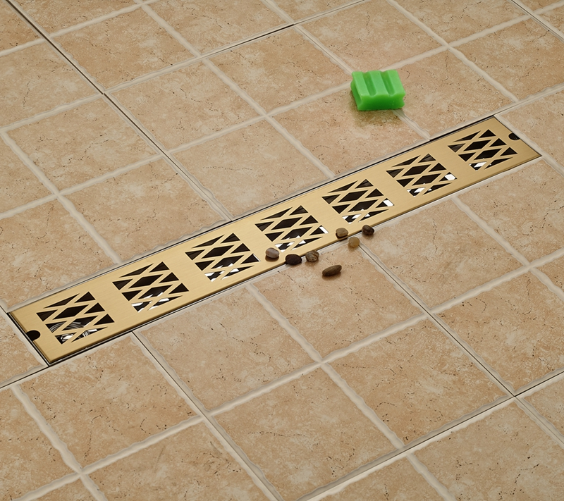 Golden Square 70cm Length Bathroom Floor Drain Grill Shower Ground Leakage New gold stainess steel 70cm bathroom shower floor drain floor mount ground leakage