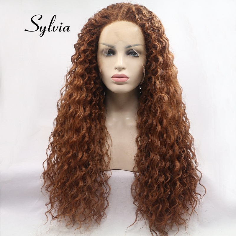 Sylvia Mixed Brown Synthetic Lace Front Wigs Bouncy Curly Hair Soft Long Heat Resistant Fiber Hair Free Part For Women Hair-in Synthetic None-Lace  Wigs from Hair Extensions & Wigs    1