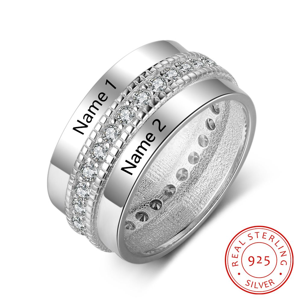 925 Sterling Silver Personalized Rings For Women Cubic Zirconia Stone Engraved Name Rings Wedding Jewelry Gift (RI103505) logo engraved titanium steel gold silver love rings for women men cubic zirconia engagement wedding rings anillos bague femme