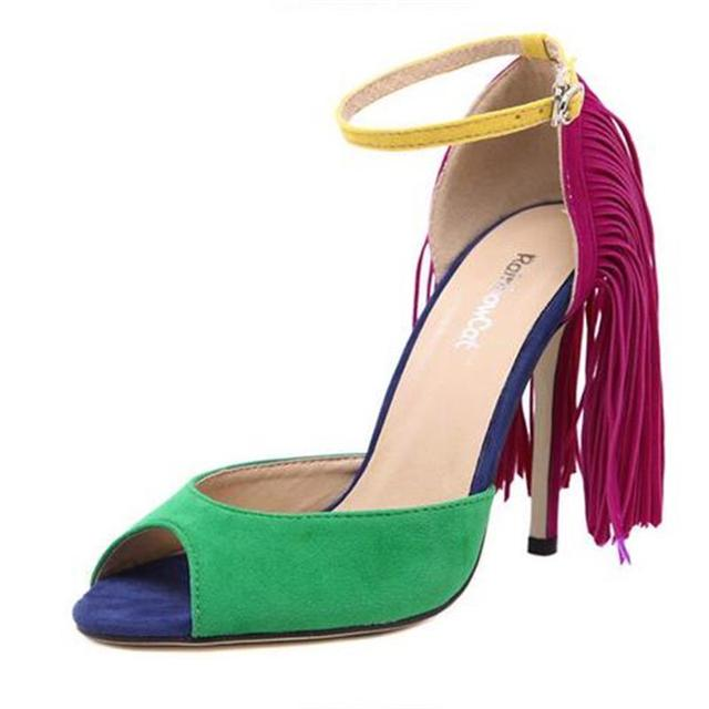 2016 New Fashion Women Pumps Sexy Great Falls Tassel Fish Mouth Buckle Strap High-Heeled Shoes Stiletto/Party Shoes Plus Size