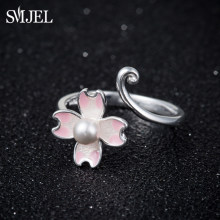 SMJEL Silver Imitation Pearl Cherry Blossoms Open Ring Women Flower Anillos Knuckle Engagement Rings Set Christmas Gifts SYJZ124(China)