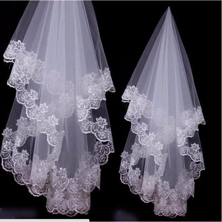 Popular Bridal Accessories Appliques Edge Lace Wedding Veils