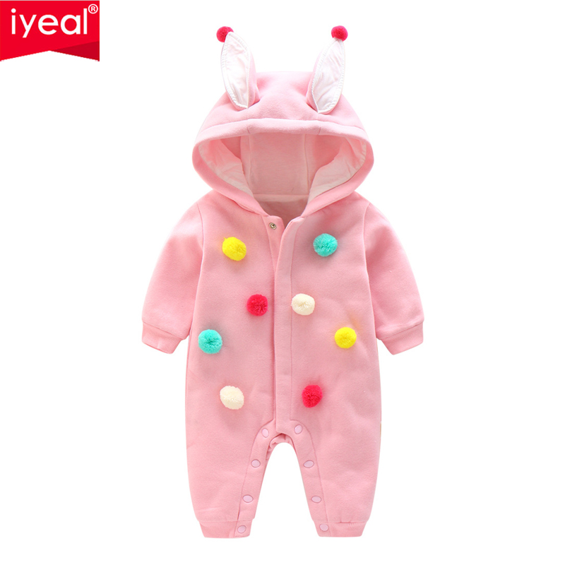 IYEAL Newborn Infant Baby Girl Clothes Cute 3D Bunny Ears Romper Kids Jumpsuit Playsuit Autumn Winter Warm Children Baby Outwear iyeal 2017 winter thick warm newborn baby clothes kids boy cotton long sleeve cute print romper toddler infant overalls 0 12m