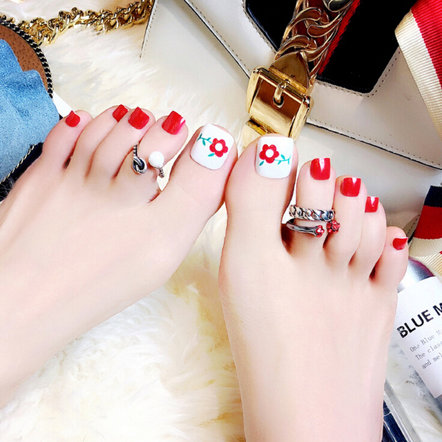 24 pcs Artificial Flower Design For Foot Nail Tips Summer Beauty Toe ...