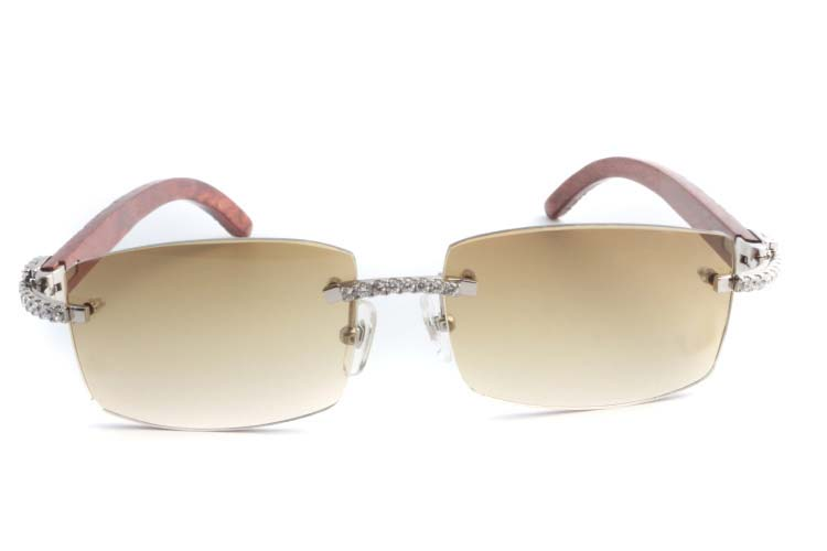 Cartier 3524012 New Diamond Lattice Wood Sunglasses Silver (2)