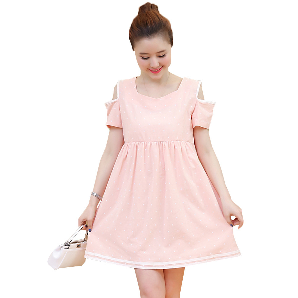 Compare prices on pink maternity clothes online shoppingbuy low 2017 summer short sleeve polka dot maternity dress pink white cute pregnancy clothes for pregnant women ombrellifo Image collections