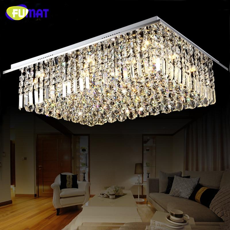 FUMAT Rectangle Crystal Chandelier For Living Room Modern Brief LED Chrome Finished Art Lightings Lustre Crystal Chandeliers|rectangle crystal chandelier|crystal chandelier|chandelier for living room - title=