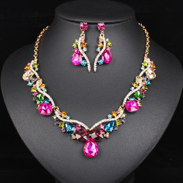 2019 Fashion Wedding Party Dress Jewelry Sets For Glamour Women Crystal Gold Color Necklace Earrings S Christmas Gifts