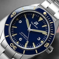 San Martin Men Vintage Stainless Steel Diver Watch 200M Water Resistant Ceramic Bezel Automatic Movement Wristwatch Blue Dial