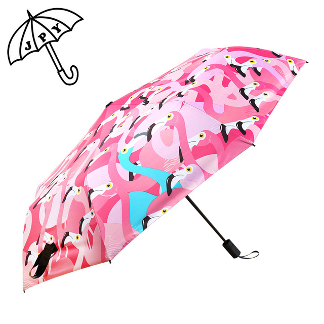 700a29a36 Jiangpanyue creativo Flamingo Cuco sombrilla 3 paraguas plegable protección  solar UV luz Ultra sombrilla revestimiento negro