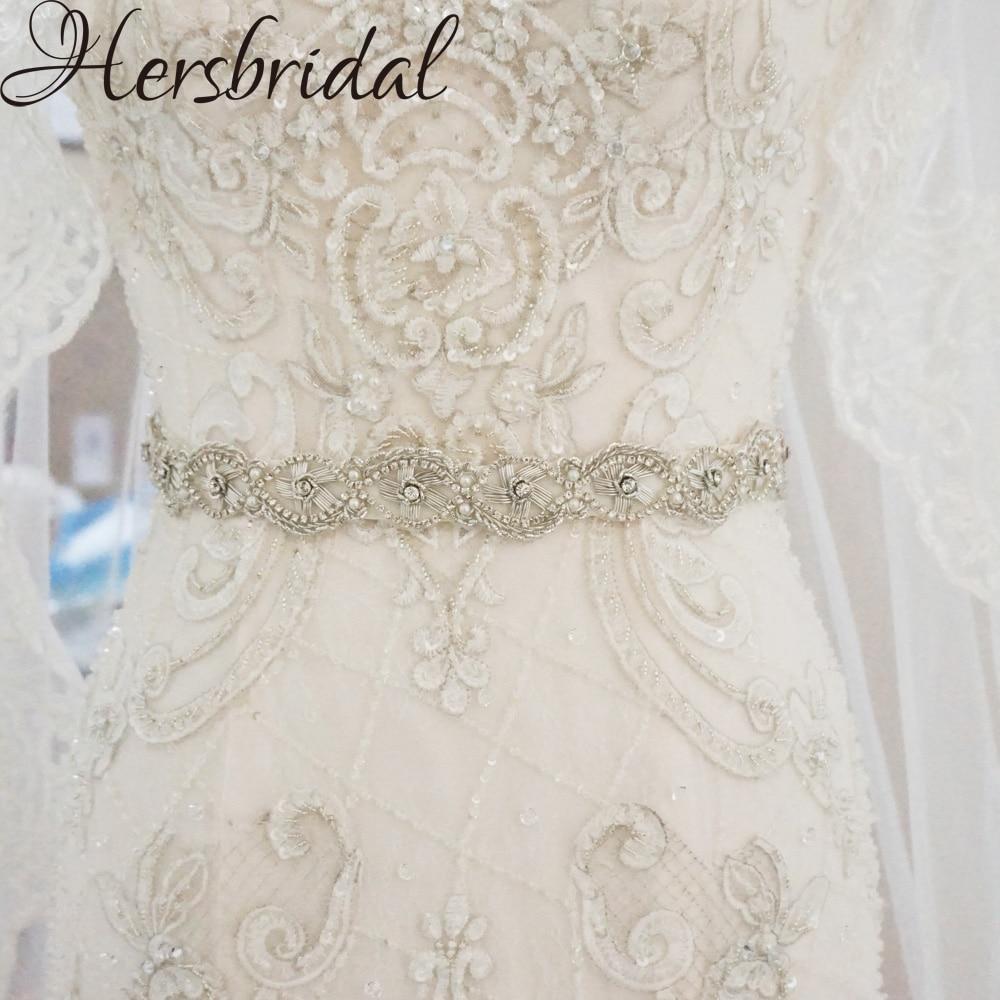 Vintage Rhinestone Bridal Belt Silver Skinny Wedding Dress Belt 2019