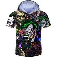 Casual Hoodies T shirt Anime Character Joker Poker 3D Print Men T Shirt Harajuku Hip Hop Hooded Tshirt Unisex Brand Clothing