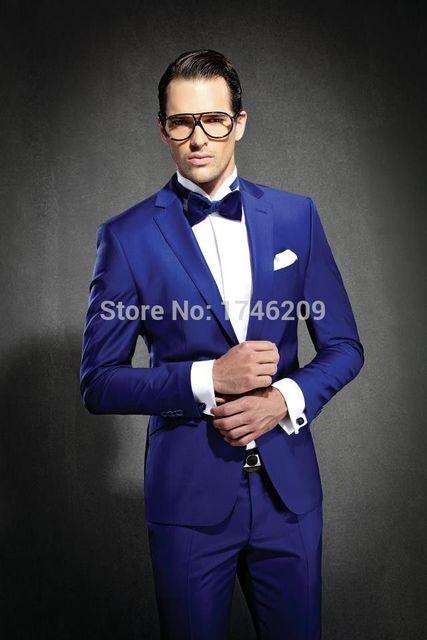 Синий жених смокинги костюмы мужские 3 шт. костюмы мужская свадебные костюмы жениха смокинги с брюками (куртка + брюки + галстук-бабочка)