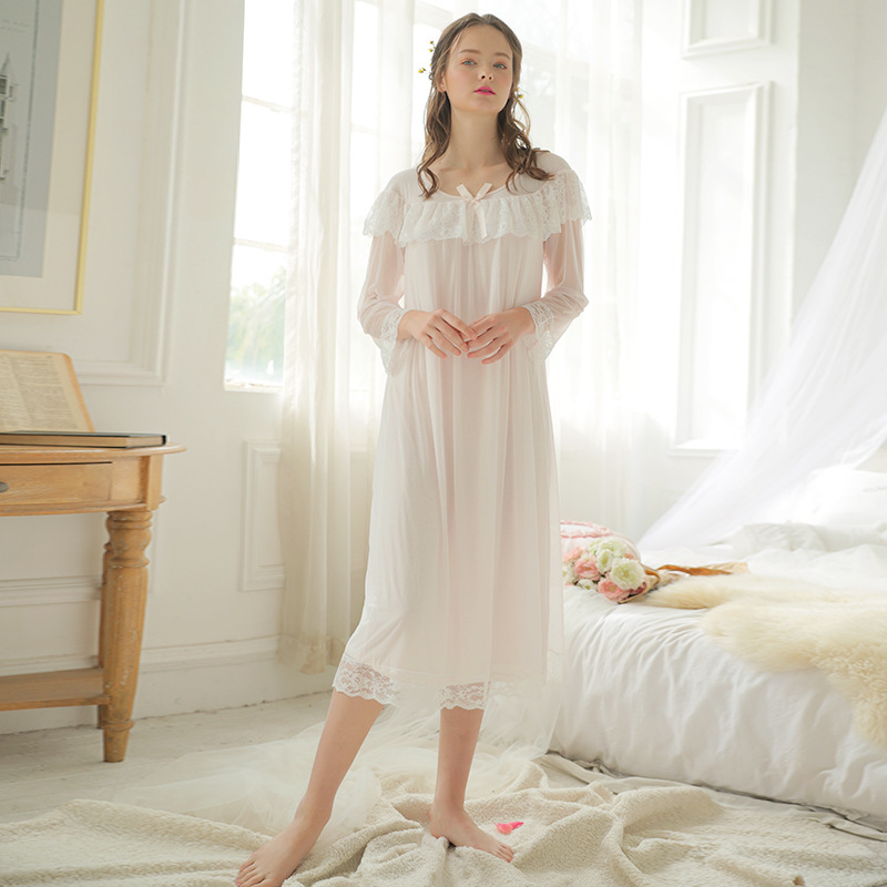 2019 New Modal Nightdress Women Long Sleeve   Nightgown   Lace   Sleepshirts   Palace Princess Home Wear Nightshirt Spring White Pink