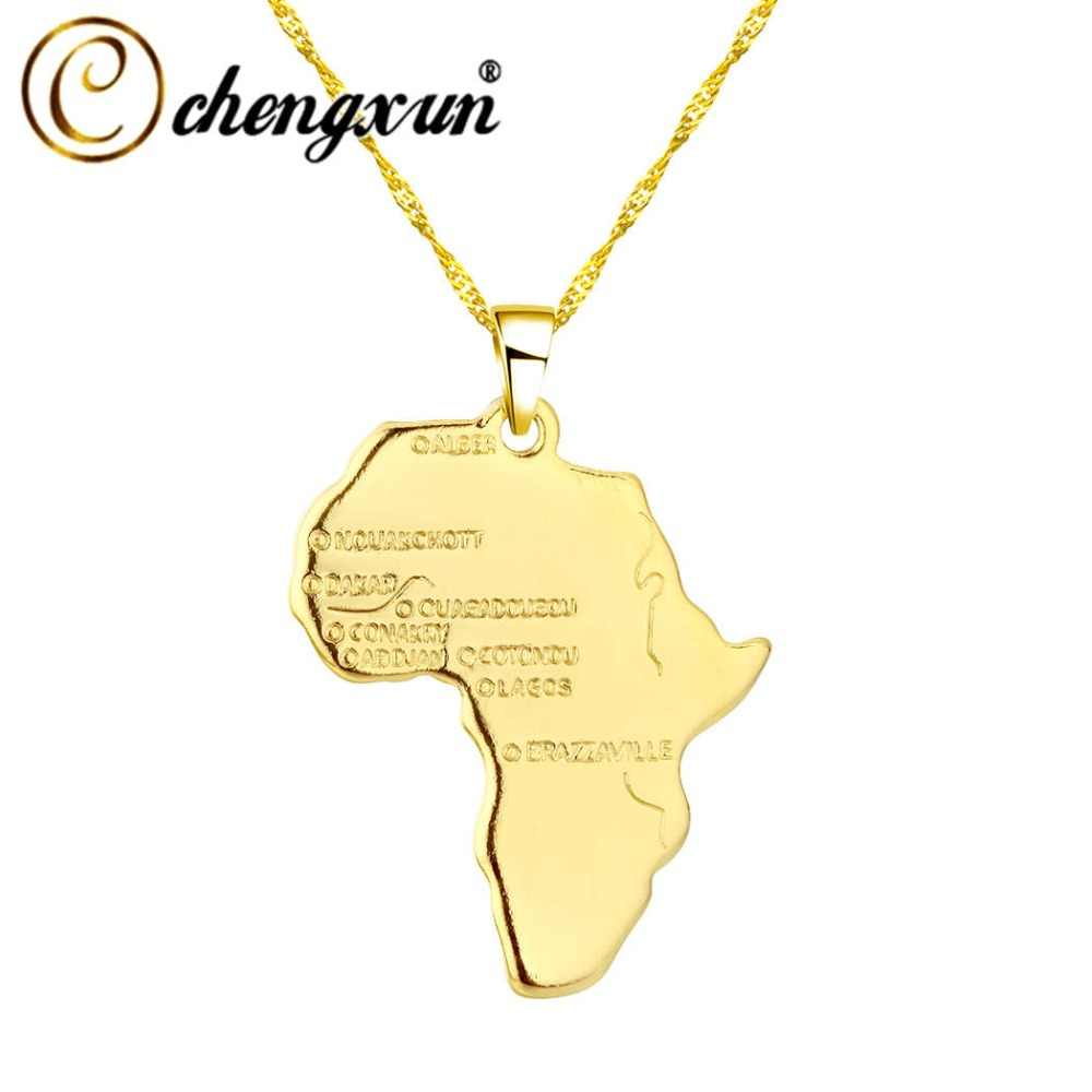 CHENGXUN Hip Hop Africa Necklace Gift Gold Color Pendant Chain Wholesale African Map Men Women Trendy Jewelry