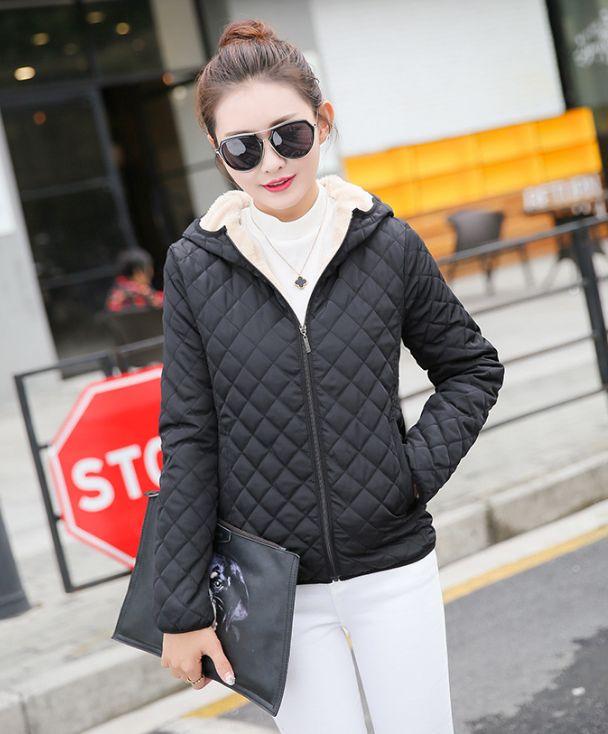 eb3802b18d35f Winter 2018 New Parkas basic jackets Female Women Winter plus velvet lamb  hooded Coats Cotton Winter Jacket Womens Outwear coat-in Parkas from Women s  ...