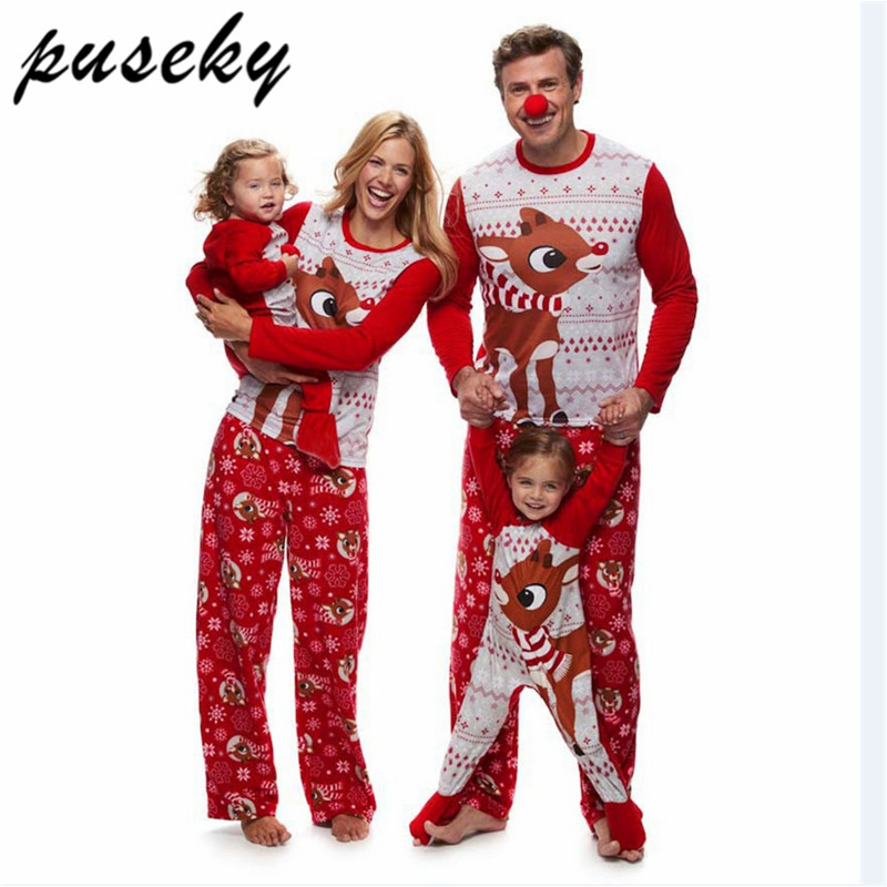 Puseky Family Christmas Pajamas Set Elk Print Adult Kids Sleepwear Nightwear Pjs Mother Daughter Outfits Family Matching Clothes christmas elk print polyester waterproof shower curtain