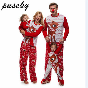 puseky family christmas pajamas set elk print adult kids sleepwear nightwear pjs mother daughter outfits family matching clothes