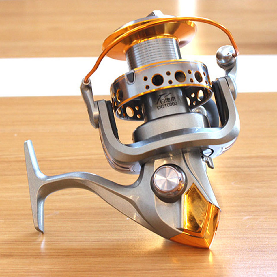 12+1BB 5.1:1 fishing reel Jigging trolling long shot casting for carp and salt water surf spinning big sea 9000/10000 size yumoshi 10000 size metal spool jigging trolling long shot casting for carp and salt water surf spinning big sea fishing reel