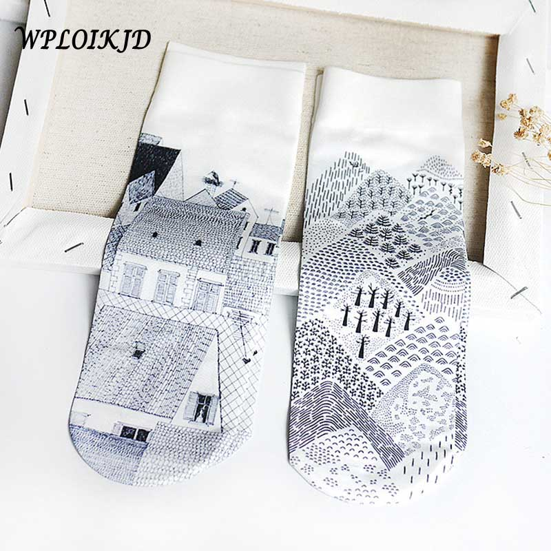 [WPLOIKJD]Art Print House Scenery Harajuku Socks Creative Japanese Ankle Socks Women Skarpetki Calcetines Mujer Meias Feminino