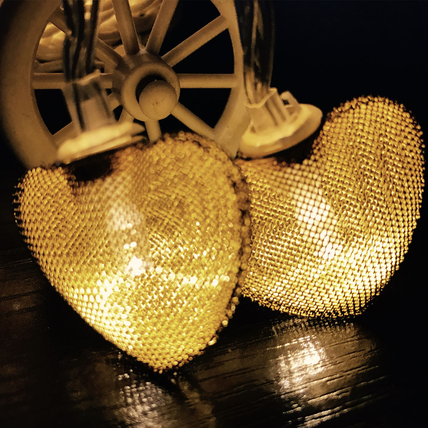 Battery 10 LED Metal Heart String Lights Festival Party Wedding Decor Indoor/Outdoor Holiday Lamp IY310191