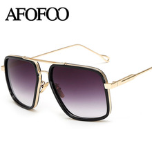 AFOFOO Fashion Sunglasses Vintage Metal Glasses Luxury Brand Designer Women Men Mirror Sun Glasses Oversized Retro UV400 Shades