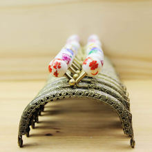 14pieces/lot ,8.5cm Arc Shape Metal Purse Frame Handle for Bag Sewing Craft, Bronze Coin Purse Frames with Ceramic beads