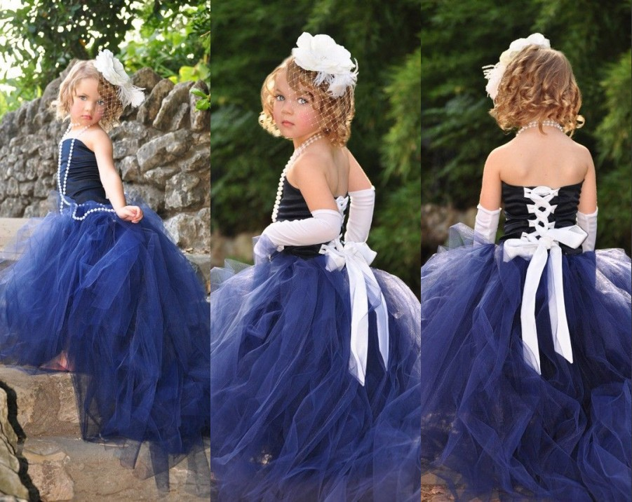 Vintage Ball Gown   Flower     Girl     Dress   Strapless Off The Shoulder Sleeveless Floor Length Lace Up Organza   Flower     Girl     Dresses
