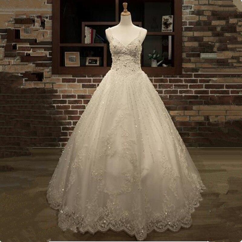 Роскошные Vestido de Noiva с кружевной аппликацией Бисер свадебное платье принцессы 2018 В шеи бретельках бальное платье Свадебное платье