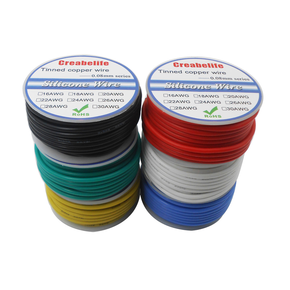 Yellow 16' 5m 24AWG Stranded Hook-Up Wire Copper Tinned UL1007 Jacket Color