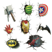 Creative 3D stereo iron Man car sticker color paste personality body simulation Hulk Avengers decorative Batman design(China)