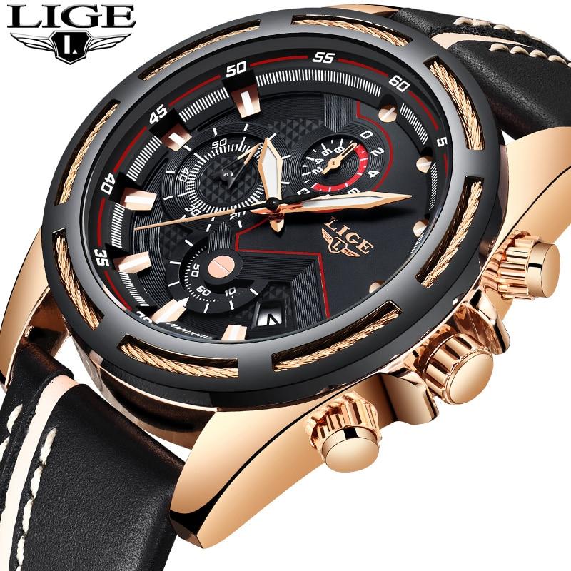 купить LIGE Watch Men Fashion Sport Quartz Leather Mens Watches Top Brand Luxury Gold Waterproof Business WristWatch Relogio Masculino по цене 2039.25 рублей