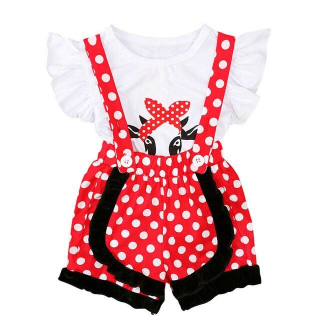 חדש ילד תינוק בנות חולצות חולצה טי + דוט רצועת מכנסיים קצרים סרבל תלבושת חליפת קיץ 2-7Y