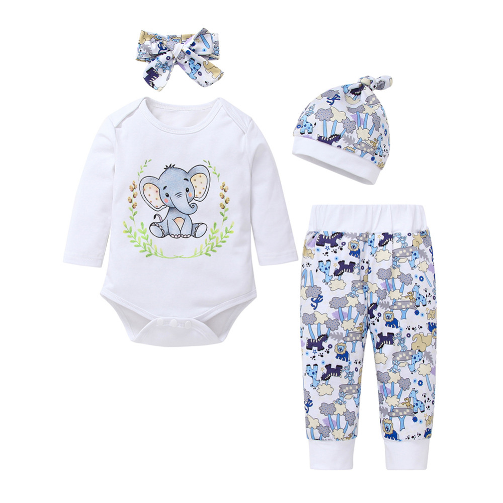 Newborn Infant Baby boy Girl Long Sleeve Clothes Elephant   Rompers   Top+Pants+Hat Outfits Casual Clothes Set Baby Sets
