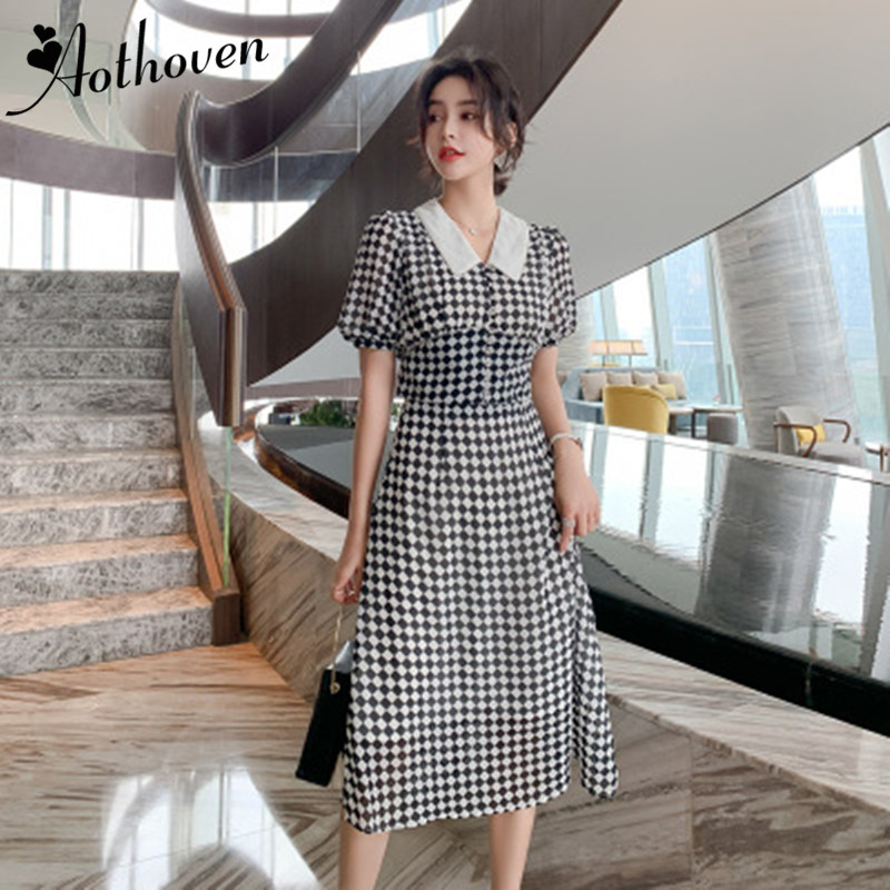 2 Piece Set Women Chiffon Classy Plaid Suit Summer Short Sleeve Peter Pan Collar Blouse Tops and Midi <font><b>Skirt</b></font> Crop Top And <font><b>Skirts</b></font> image