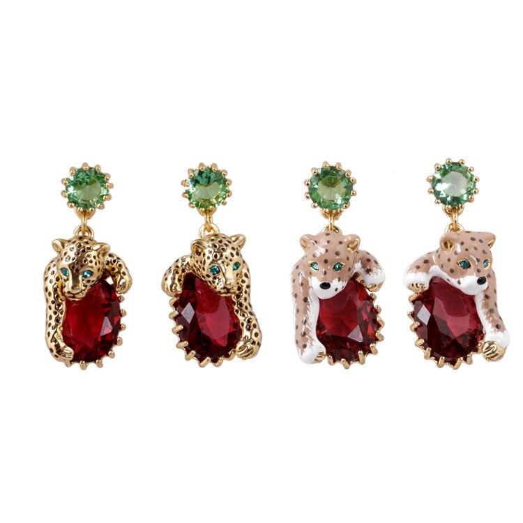 Paris Jewelry New Enamel Glazed Fashion Trendy Golden Pink Leopard Simple Gem Women stud Earrings copper jewelry leopard head hanging pearl stud earrings tiger head green rhinestone black stud earrings for women