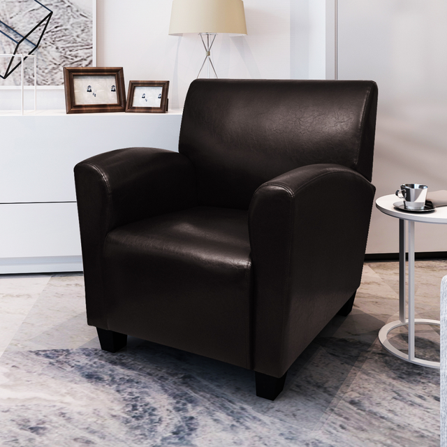living es sofa outdoor corner cover uk ikayaa black armchair artificial leather single for room stock