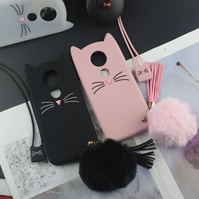 Cute 3D Cartoon Silicon Case for Motorola Moto E5 Plus E5+ Cases Japan Glitter Beard Cat Lovely Ears Kitty Phone Cover MOTOE5