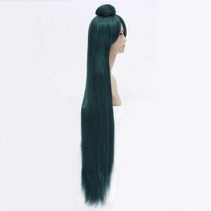 Image 4 - HAIRJOY Dark Green Sailor Moon Sailor Pluto Meiou Setsuna Cosplay Wig with Detachable Bun 100cm Long Straight Synthetic Hair