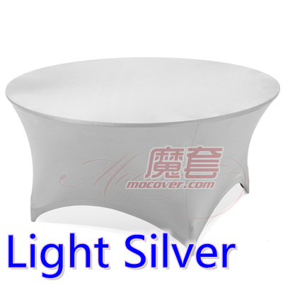 Spandex Table Cover Light Silver Round Lycra Stretch Table Cloth Fit