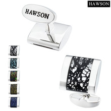 Hawson Brand Jewelry Shirt Cufflinks for Mens Top Quality Glass Cuff Buttons Charm Glazed Cuff links-LOGO Printed With HAWSON
