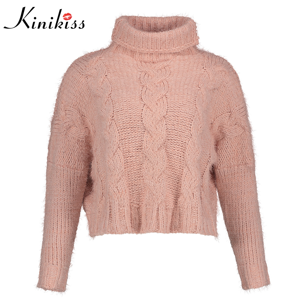 Kinikiss 2018 New Fashion Women Sweaters turtleneck Knitted Pullovers Full Sleeve Blouse Shirts Female Tops Christmas sweater
