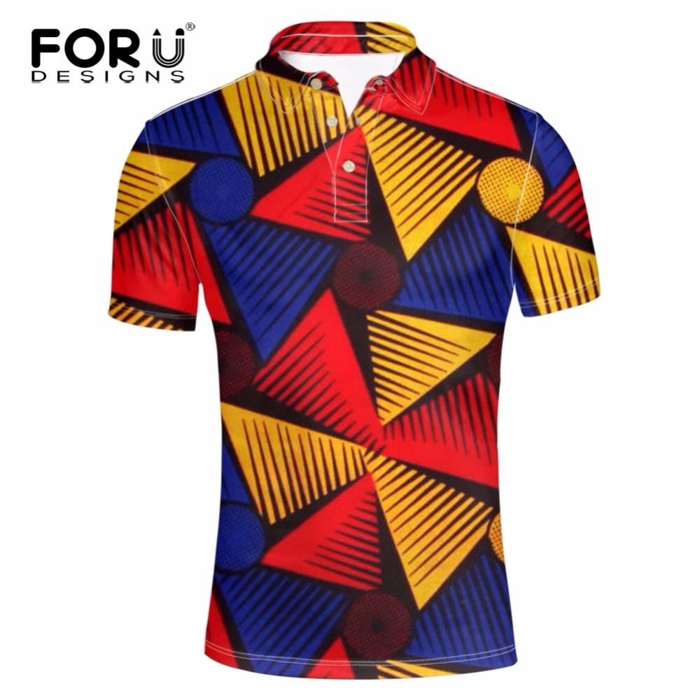 FORUDESIGNS Summer short-sleeve shirt male stand collar short sleeve   polo   raditional african print short-sleeve Tees Fashionable