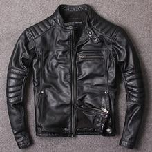 Новая стильная теплая мужская одежда, кожаная байкерская куртка s, Мужская Черная куртка из натуральной кожи. homme slim, cool, распродажа